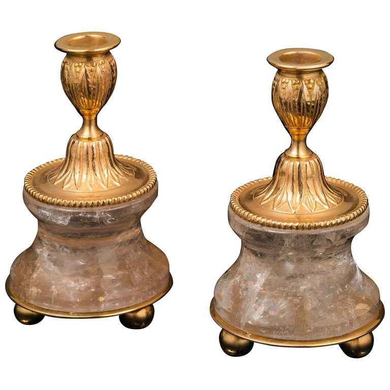 Pair of Rock Crystal and Gilt Bronze Lamps or Candlesticks Louis the XVI Style For Sale