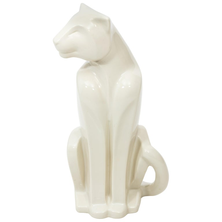 Art Deco Style Haeger Ceramic Panther Sculpture For Sale