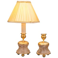 Pair of Rock Crystal and Gilt Bronze Lamps / Candlesticks Louis XVI Style