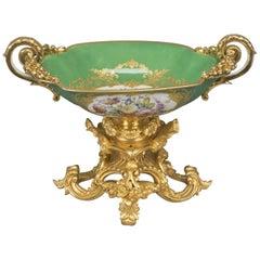 Sèvres Style Porcelain Coupe, the Bronze Mounts by Henri Picard, circa 1880