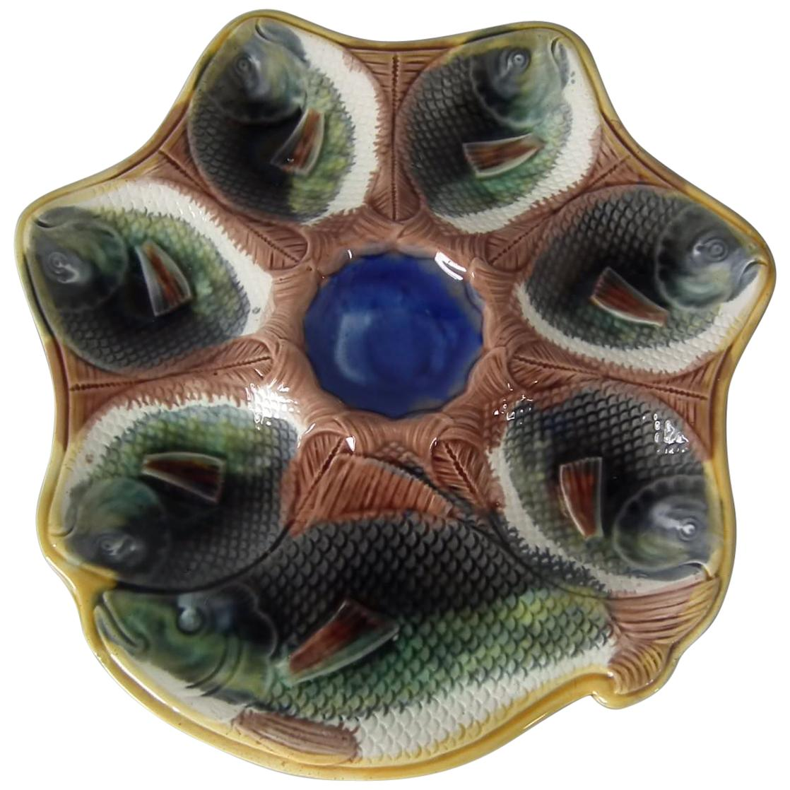 Adams & Bromley Majolica 6 Well Fish Oyster Plate