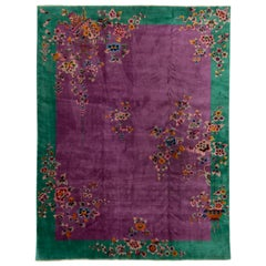 Antique Deco Green and Purple Chinese Rug