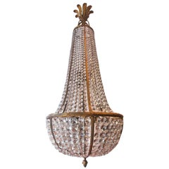 Large French 19th-20th Century Empire Bronze and Cut-Glass Chandelier
