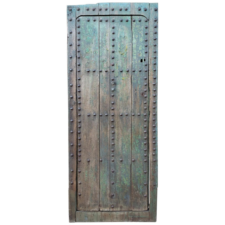 Old Blue Moroccan Wooden Door, 23MD35 For Sale