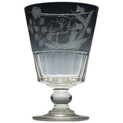 Large 19th Century Glass Serving Rummer Engraved with Paddle Steamer, circa 1830