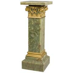 Gilt-Bronze Mounted Dark Green Onyx Pedestal with a Revolving Top, circa 1890