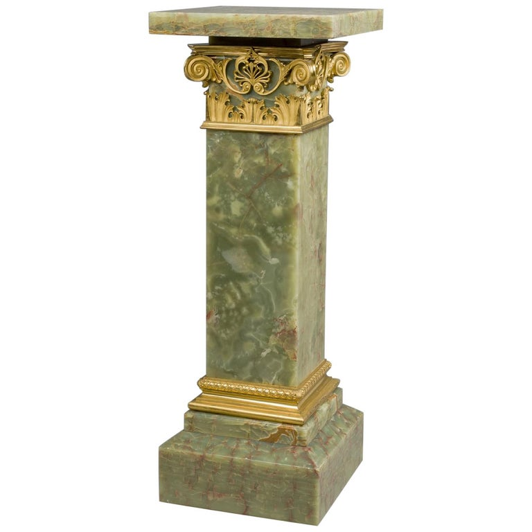Gilt-Bronze Mounted Dark Green Onyx Pedestal with a Revolving Top, circa 1890 For Sale