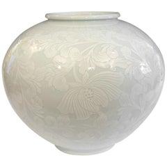 Korean Studio Porcelain Large Moon White Vase Carved Slip Peony Scroll Jar