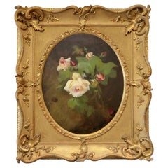 Still Life Flowers Oil on Canvas by James Stuart Park Antique Art