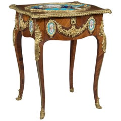 Louis XV Style Gilt-Bronze Mounted and Porcelain Set Table, circa 1870