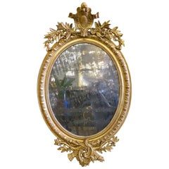 Antique Gold Gilt French Oval Crested Mirror