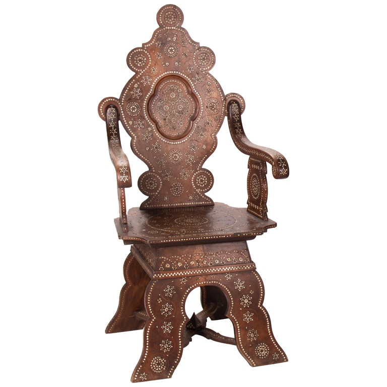 19th Century Italian Hand Carved Inlaid Armchair For Sale