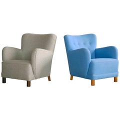 Flemming Lassen Attributed Pair of Club Chairs Danish, Midcentury, 1940s