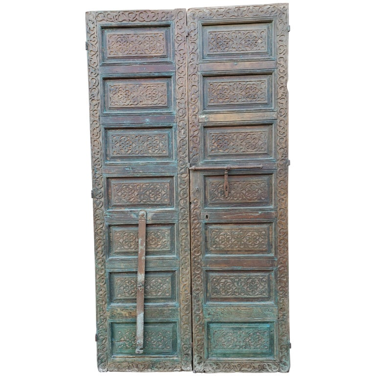 Old Brown Moroccan Wooden Door, 23MD36 For Sale