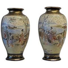 Antique Near Pair of Meiji Period Satsuma Vases, Japanese, 1868-1912