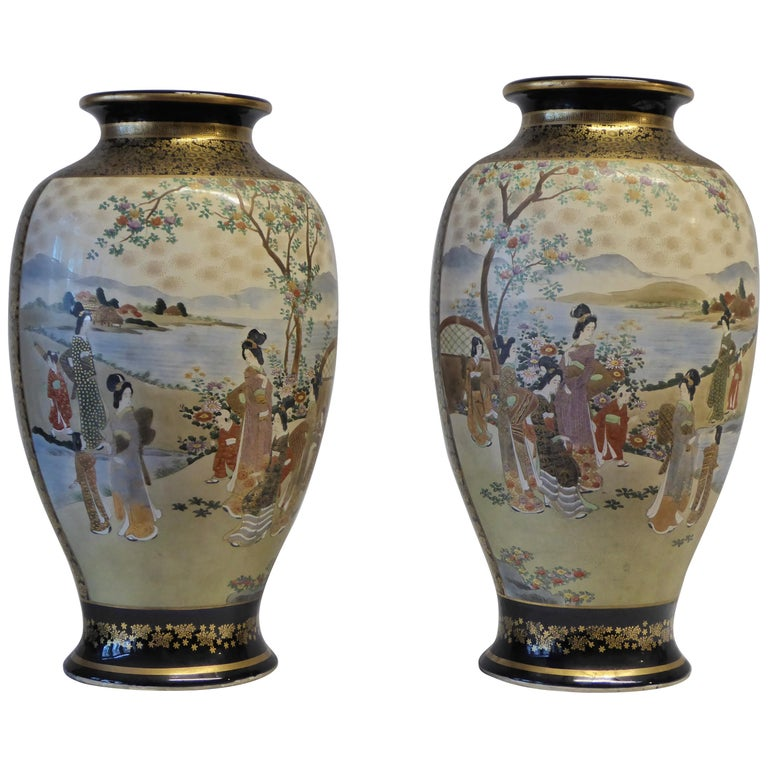 Antique Near Pair of Meiji Period Satsuma Vases, Japanese, 1868-1912 For Sale