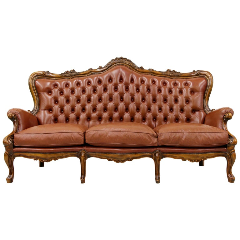 Chippendale Chesterfield Sofa Leather Antique Vintage Couch English