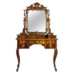 19th Century Neo-Rococo Walnut Vanity Table