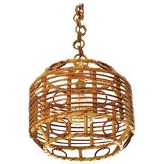 1960s Spanish Mid-Century Modern Bamboo and Rattan Pendant Hanging Lamp
