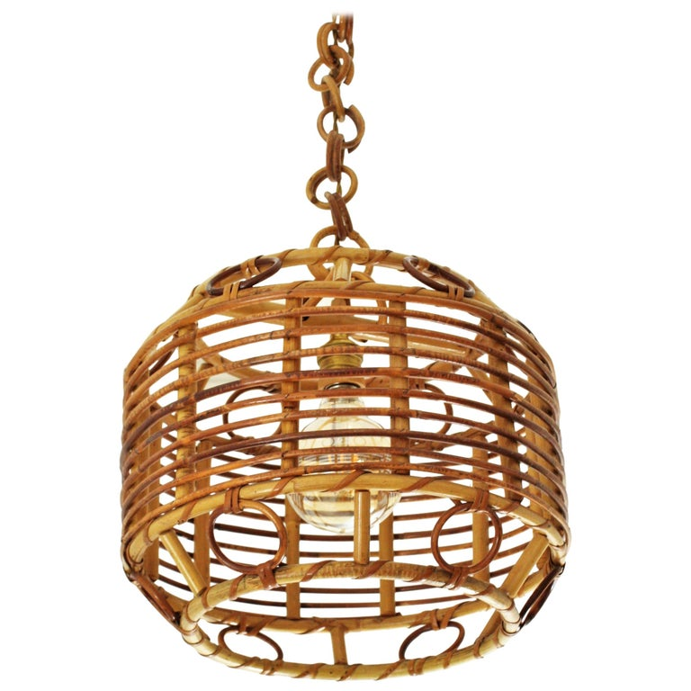 1960s Spanish Mid-Century Modern Bamboo and Rattan Pendant Hanging Lamp For Sale