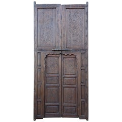Moroccan Hand Carved Double Door, Berber Style 23MD37
