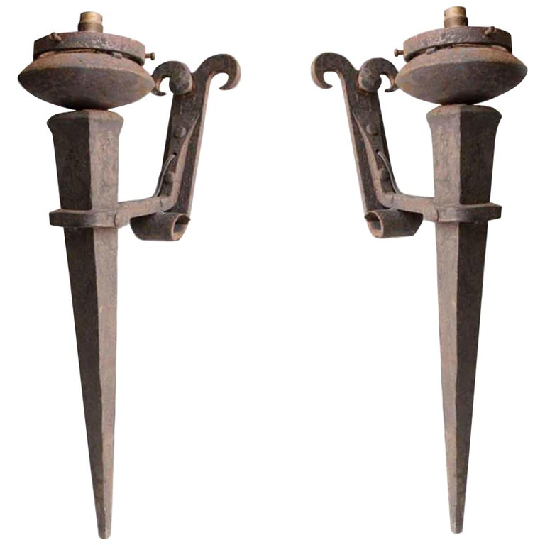 1980s French Pair of Two-Arm Iron Wall Sconces For Sale