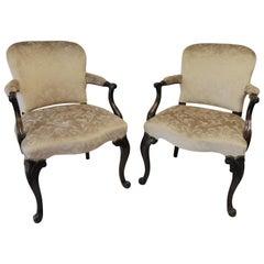 Pair of Elegant Victorian Floral Velvet Beige Antique Mahogany Chairs, 1880