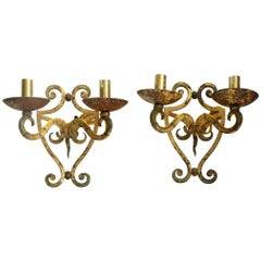 1980s Pair of French Iron Sconces