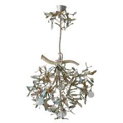 Exceptional Art Nouveau 4-Flamed Mistletoe Bronze Chandelier, 1900, Austria