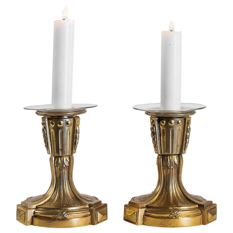 French Louis XVI Period Pair of Small Gilt Bronze Candlesticks, circa 1780 For Sale