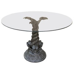 19th Century Bronze Dolphin Glass Top Coffee Table