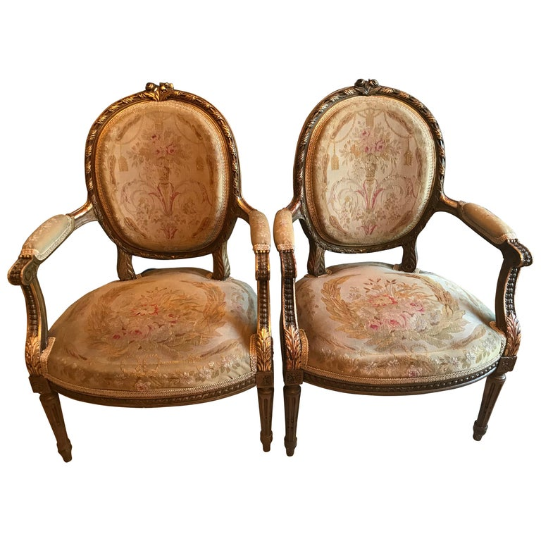 Pair of Louis XVI Style Armchairs For Sale
