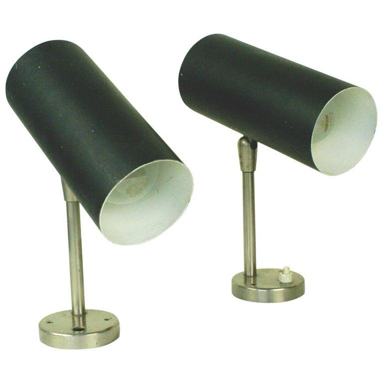 Pair of Austrian Midcentury Black Lacquered Zylinder Sconces by J. T. Kalmar For Sale