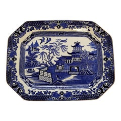 Antique English Burleigh Ware Blue Willow Platter