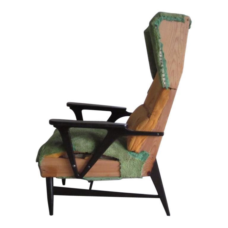 Pair of Large Italian Mid-Century Modern Wing Back Lounge Chairs, Carlo Mollino