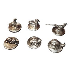1970s Gucci Silverplate Place Card Holders, Set of 6