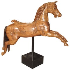 Wooden Jumping Horse on Stand from Barcelona Spain, circa 1900
