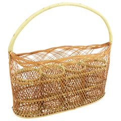 Woven Wicker and Rattan Bottle Rack / Basket, France, 1960s
