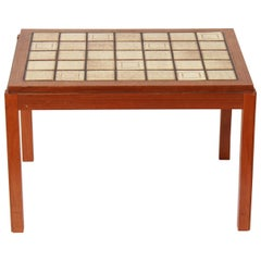 Mid-Century Modern Side Table with Tiled Top in Roger Capron Style
