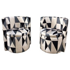 Pair of Round Club Chairs with Kirkby Velvet Geometric Design, 1940s