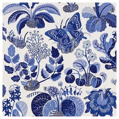 Schumacher Josef Frank Exotic Butterfly Marine Blue Wallpaper, Two Roll Set