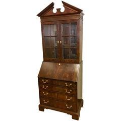 George III Style Flame Mahogany Secretary Desk Secretaire Bookcase