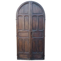 Double Panel Arched Moroccan Wooden Door, 23ND34