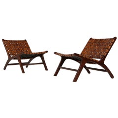 Pair of Solid Balinese Teak and Cognac Leather Lounge Chairs, Brazilian Style