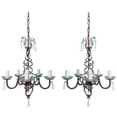 Pair of Mid-20th Century Iron and White Beaded Chandeliers, Gilt Leaf Accents