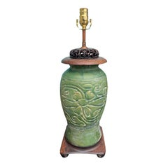Early 20th Century Chinese Green Pottery Lamp with Old Copper Mounts
