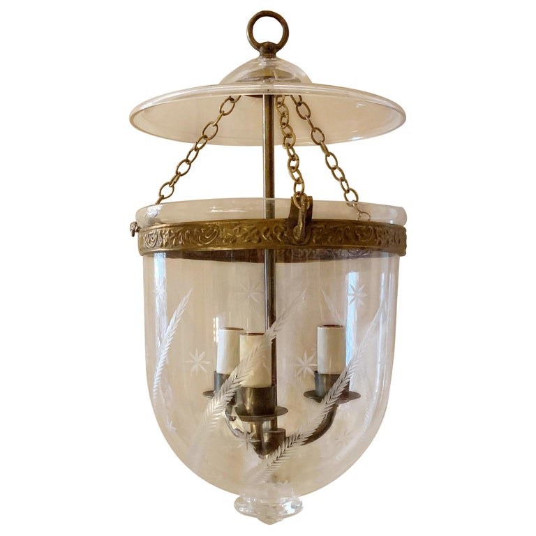 English Etched Star Wheat Glass Bell Jar Lantern Pendent Brass 3 Light Fixture For Sale