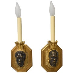 Pair Blackamore Figural Face Wall Sconces Gold and Bronze