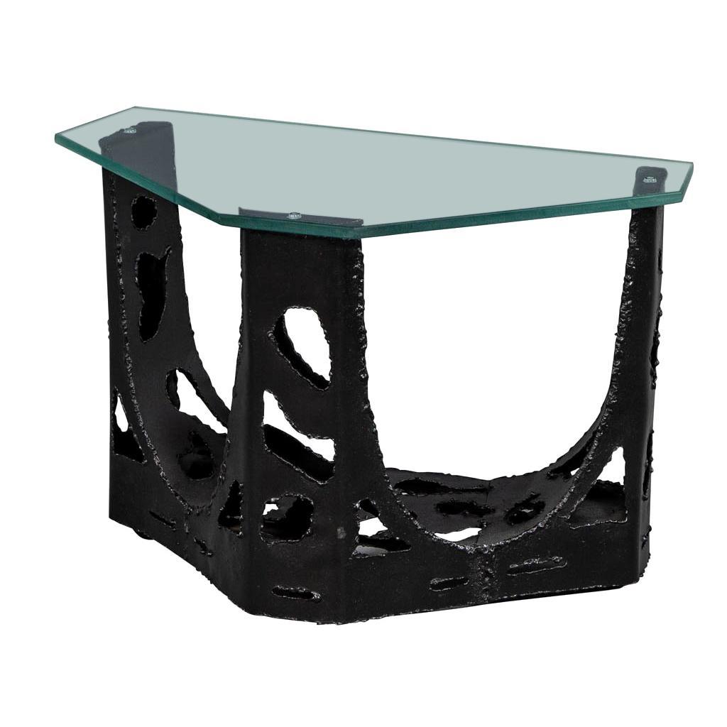 Vintage Original Brutalist Glass Top End Table