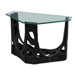 Vintage Original Brutalist Glass Top End Table
